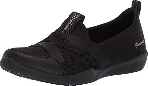 Skechers Damen Newbury St - True Finds Slip On Sneaker, Schwarz (Black Mesh/Micro Leather/Trim BBK), 38 EU