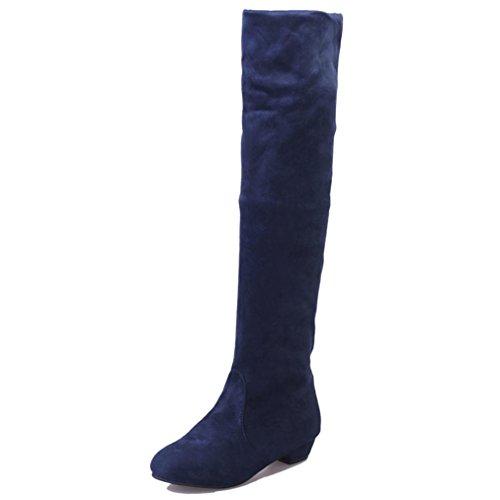 Byste stivali lunghi donna corto boots piatto stivali scarpe alta gamba scamosciato (eu:40, blu)