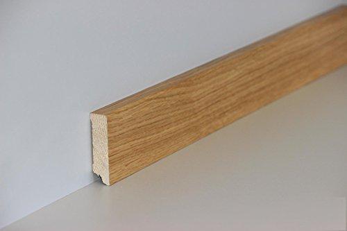 Eiche Laminat (KGM Sockelleiste Eiche Parkettleiste Fußleisten – Modern 58mm ✓Echtholz Fichte Träger ✓Furnier Holz Oberfläche | Sockelleisten für Laminat & Parkett | Holzleisten Eiche 16x58x2500mm)