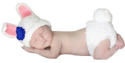 Baby Kleinkind Neugeborenen Hand gestrickt häkeln Strickmütze Hut Kostüm Baby Fotografie Requisiten Props (weißer Kaninchen)