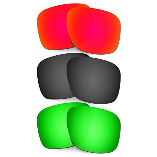 HKUCO Ersatz-Brillengläser für Oakley Holbrook XL OO9417 Red/Schwarz/Grün Sonnenbrille