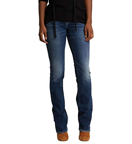 Flap-tasche Indigo Jeans (Silver Jeans Co. Damen Suki Curvy Fit Mid Rise Slim Bootcut with Flap Pockets Jeans, Low Stretch Medium Indigo, 33W x 33L)