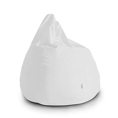 Avalon pouf poltrona sacco grande bag l jive 80x80x100cm made in italy in tessuto antistrappo imbottito colore bianco