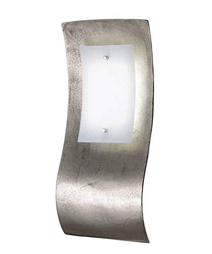 Geschwungene LED Wandleuchte SHINE-ALU, Nickel antik / Glasblende opal, Schalter, Fischer-Leuchten 54681