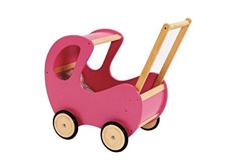 Puppenwagen aus Holz | ein Traum in pink für Puppenmuttis und Puppenvatis | Lauflernwagen mit gummierten, geräuscharmen Räder | stabile und robuste Ausführung aus Holz | mit Himmel...