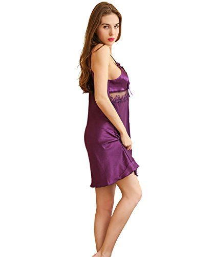 Hstyle Frauen Dessous Nachthemden Tiefen V-Ausschnitt Babydoll Chemise Kleid Nachtwäsche Violett