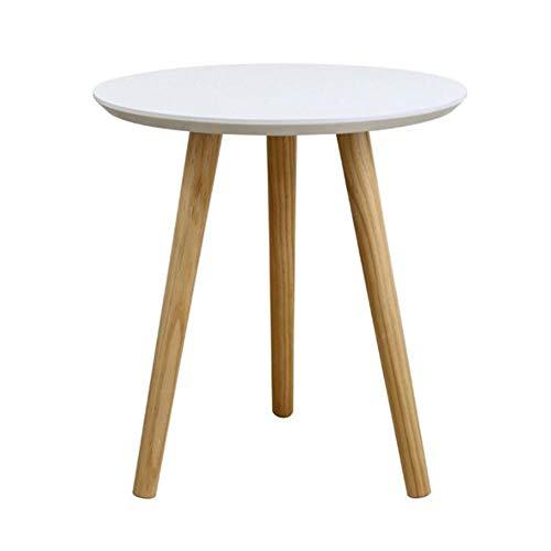 Tables CJC Rétro MDF Ronde Côté/Café/Salle À Manger/Lampe/Fin La, Bois, Blanc (Couleur : 48 * 48 * 51.5cm)