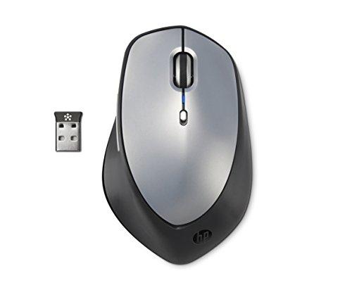 HP X5500 (H2W15AA) kabellose Maus (USB-Anschluss, Lasersensor max. 1600 CPI, 3 Tasten, Kabelloser USB-Receiver mit 2,4 GHz) silber/schwarz -