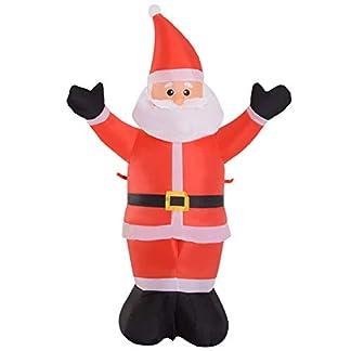 HOMCOM Santa Claus Inflable Decoración Navideña Hinchable Papá Noel con Reno o con Regalo LED Iluminación Navideña Interior y Exterior