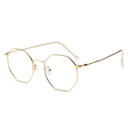 Polygonal Metall Brillengestell Optische Brillen Nicht verschreibungspflichtige Brillengestell für Damen. Brille (Farbe : Gold)