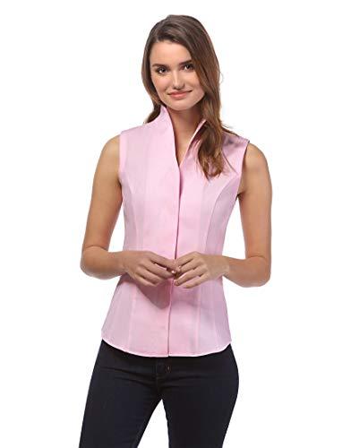 Vincenzo Boretti Damen Bluse mit Kelchkragen leicht tailliert 100% Baumwolle bügelleicht Kurzarm ärmellos Hemdbluse mit Stehkragen elegant festlich auch für Business pink 42 -