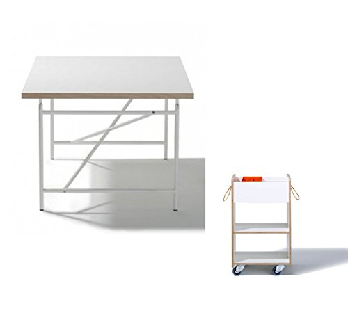 Ausstellungsstück Kinderschreibtisch Eiermann – weiß 150 x 75 cm + Container + Stifteschale