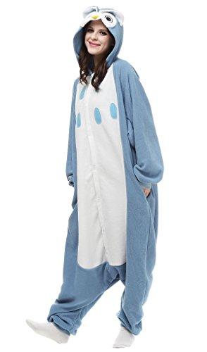 Aivtalk Tier Onesie Jumpsuits Kostüm Pyjama Schlafanzug Hausanzug Nachtwäsche Erwachsene Unisex Kigurumi Tieroutfit Tierkostüme Fasching Karneval Cosplay Fleece-Overall - Blau (Für Lustige Tierkostüme Erwachsene)