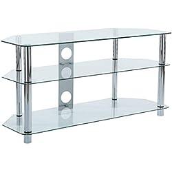 Meuble TV en verre clair avec pied en chrome argent pour 39 40 49 50 Téléviseurs 4K de 105 cm de large
