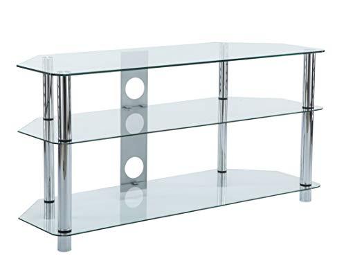 Mueble de cristal para televisor LCD LED de 32' a 50', patas cromadas, 110 cm de ancho