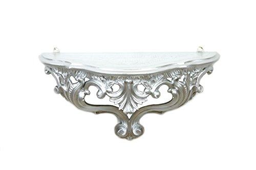 Regal-Konsole Konsolentisch in Silber versilbert Barock Stil Faux Vintage 38,5 x 15,5 x 20 cm