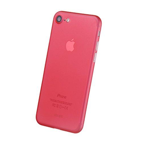 doupi UltraSlim Case iPhone 8 / 7 ( 4,7 pouces ) [ Chargeur sans fil pris en charge ] fin mat ultra mince et ultra léger Bumper Cover Housse de Protection Shell Coque - noir Rouge