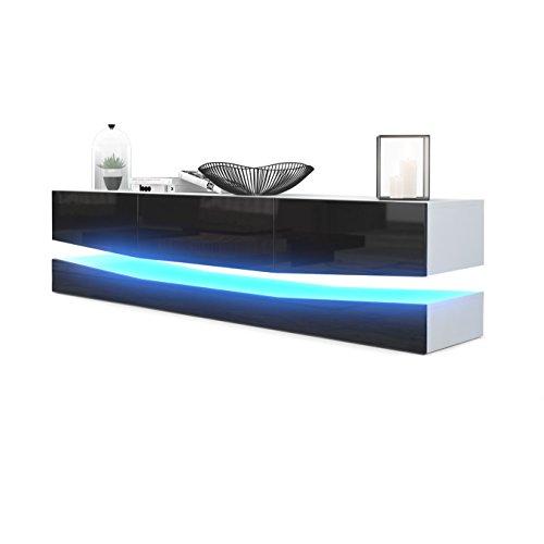 Meuble TV Armoire basse City, Corps en Blanc mat / Façades en Noir haute brillance avec l'éclairage LED