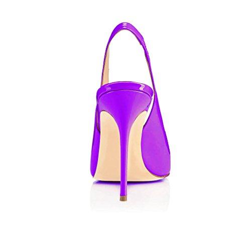 EDEFS Damen Stiletto Heels Übergröße Damenschuhe Spitze Zehen Lackleder Slingback Pumps mit Gummiband Violett