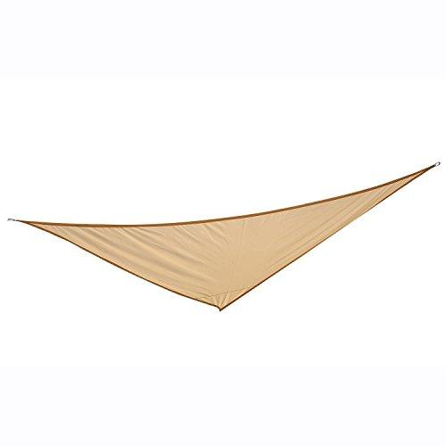 HOMCOM Outsunny Toldo vela color arena sombrilla parasol triangulo Tela de Poliéster jardin playa camping sombra medidas, medida 3x3x3 metros, color arena