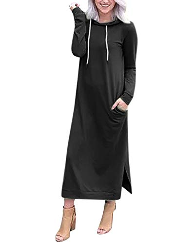 Style Dome Sweat-Shirt à Capuche Femme Longue Robe Sweats Grande Taille Casual Hoodies Pullover Manches Longues Vestes Printemps Automne Hiver