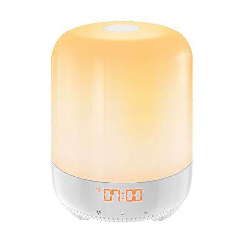 AMIR Lichtwecker, Wake Up Licht mit 8 Natürliche Wecktöne, RGB Farbe ändern Wecker Licht mit Sonnenaufgang Simulation, 3 Helligkeit, Touchfunktion, USB wecker mit licht für Schlafzimmer, Geschenk