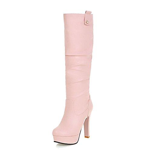 AllhqFashion Damen Weiches Material Hoch-Spitze Rein Ziehen auf Niedriger Absatz Stiefel, Weiß, 35