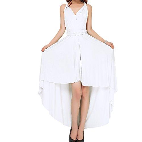 Damen Frauen Multi-tragen Kreuz Halfter Abendkleid Brautjungfer Hi-Lo Kleid Multiway-Kleid V-Ausschnitt Rückenfrei Maxikleid Sommerkleider Strandkleid Cocktailkleid Partykleid Weiß 38-40