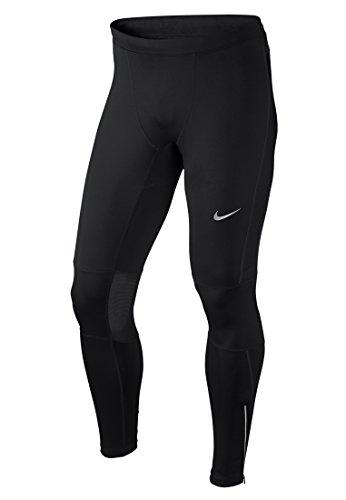 Nike Df Essential Tight CR1901329-Calzamaglia da corsa da uomo, colore: nero/argento, taglia M/L