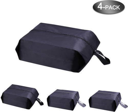 Bolsas para zapatos - Accesorios de viaje YAMIU 4-Pack (2 tamaños) nylon resistente al agua con la cremallera para los hombres y de las mujeres (Negro)