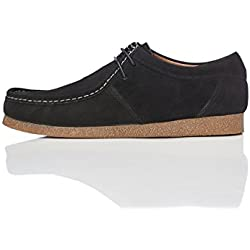 FIND Herren Wallabees aus Veloursleder, Schwarz (Black), 44 EU