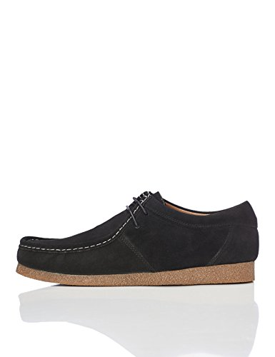 FIND Herren Wallabees aus Veloursleder, Schwarz (Black), 46 EU