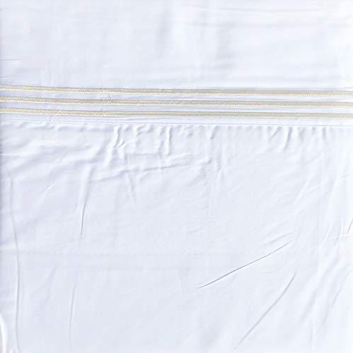 Metallic Stripe Bettwäsche (Hotel-Bettwäsche-Set aus 100% Baumwolle, für Doppelbett, mit 3 bestickten silberfarbenen Streifen am Saum)