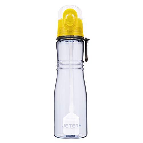 JETERY Trinkflasche Wasserflasche Auslaufsicher Sportflasche mit Wasserfilter uberBottle BPA-frei Auslaufsicher 680ML für Schule, Sport, Fahrrad Gelb