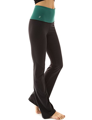 PattyBoutik Damen Gestaltung Serie Bootcut Yogahosen (Grün und Schwarz 46/XL) - Ausgestattet Flare-hose