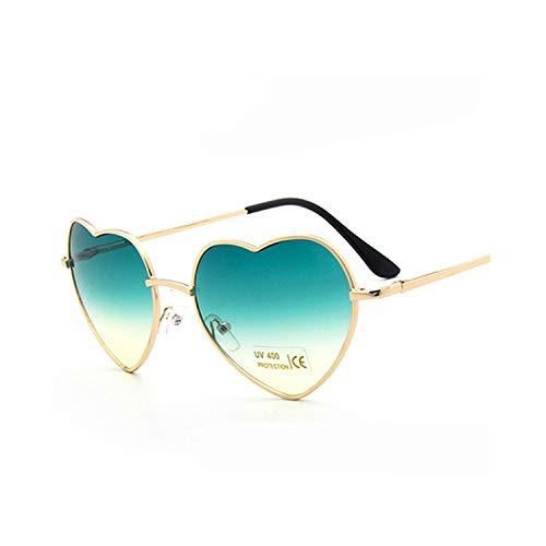 Sportbrillen, Angeln Golfbrille,Womens Mirror Sun Glasses Love Metal Frame Fashion Sunglasses Shaped Reflective Women Heart Glasses Luxury Women's Eyeglasses Gold red yellow