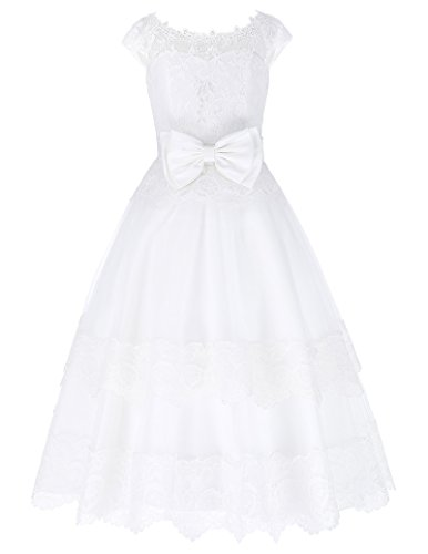 GRACE KARIN Cap Sleeve Flower Girl Princess Bridesmaid Wedding Pageant Party Dress