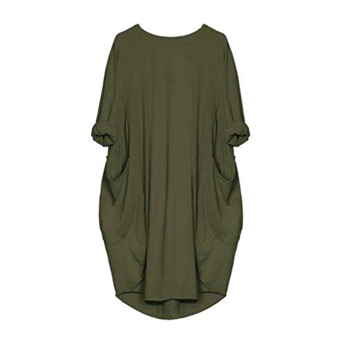 VEMOW Damenmode Tasche lose Kleid Damen Rundhalsausschnitt beiläufige tägliche Lange Tops Kleid Plus Größe (EU-46/CN-L, Armeegrün) -