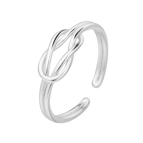 Plata abierto Twist nudo flores infinito anillo mujeres