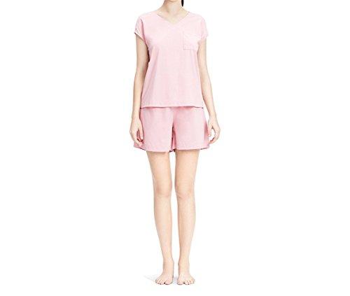 Damen Nachtwäsche und sexy V-Ausschnitt aus reiner Baumwolle Homewear Hosen, Kurzarm home dienstleistungen Baumwolle, M L