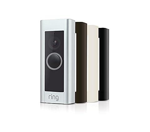 Ring Pro Video Doorbell Pro Sonnette compatible Wi-Fi avec vidéo HD/communication audio bidirectionnelle, Argent