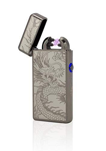 TESLA Lighter T08 Lichtbogen Feuerzeug, Plasma Double-Arc, elektronisch wiederaufladbar, aufladbar mit Strom per USB, ohne Gas und Benzin, mit Ladekabel, in Edler Geschenkverpackung, Schwarz Drache