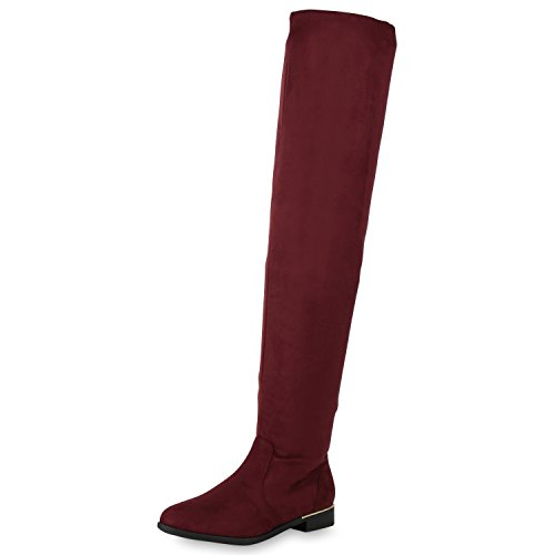 Gefütterte Damen Schuhe Overknees Metallic Winter Stiefel Leder-Optik Burgund Metallic 40 Jennika (Burgund Schuhe Leder)