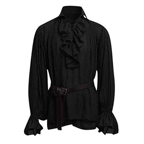 Aoogo Hochwertige Mode Männer Bandage Langarm Mittelalter Hemd Gothic Man Bluse