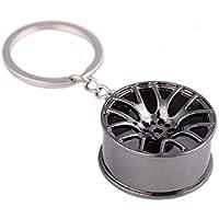 Portachiavi in forma di cerchio di auto in miniatura 3d, placcato cromato Antracite scuro