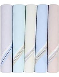 Caruso Italy Men's Premium Light Base Coloured Border Cotton Handkerchief (Pack of 5 and 10)