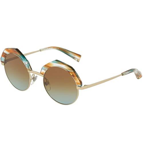 Alain mikli occhiali da sole, modello 0a04006 colore 002/5d, montatura in metallo color oro con lente tonda marrone e comodi naselli, stile donna