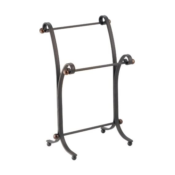 InterDesign York Lyra Fingertip Hand Towel Rack - Free-Standing Bathroom Vanity Towel Holder/Dryer, Split Bronze