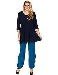 Graziöses Tunika Shirt A-Linie 3/4 Arm zum Lagenlook schwarz