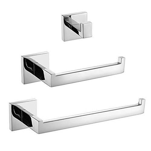 ZYC Badezimmer-Sets 304 Edelstahl Material Schwarz & Chrom Kleiderhaken Papierhalter Handtuchhalter Kleiderhaken,9 -